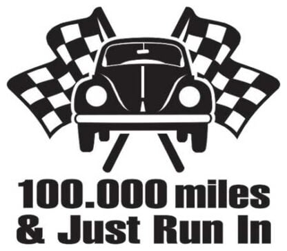 100,000 miles just run in sticker