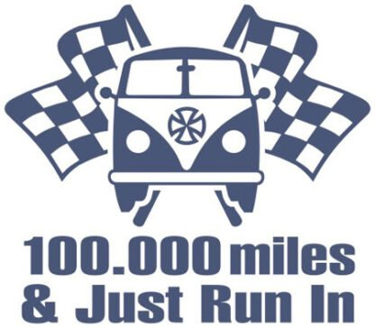 100,000 miles and just run in split sticker
