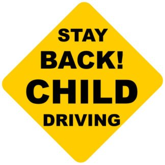 Stay back child driving car sticker
